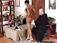 Black slim milf confessed her sexual lust to naughty ex aged priest