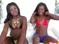 Kay and Destinee threesome big schlong interracial
