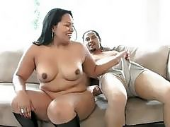 Big boned Marcella crams this fat black cock into her dirty mouth