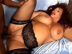 Greasy giant tits fat ebony slut for monster black cock