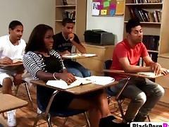 Black college babe become slut in classroom entertaining BBC classmates