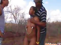 Interracial threesome and torment with African whore