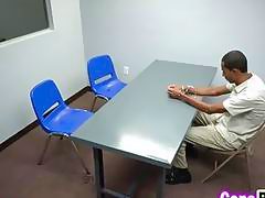 Big black cock brothel owner sticking his dick with two lovely cops at interrogation room